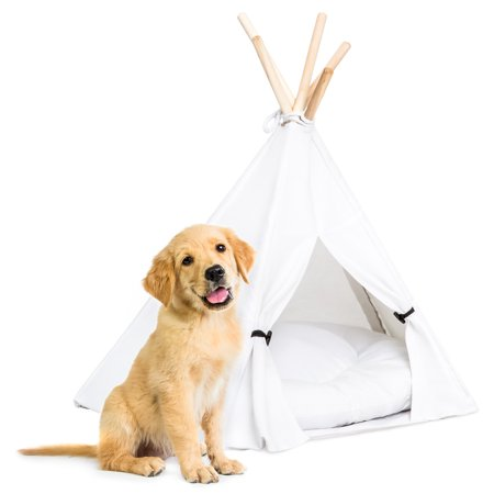 "Best Choice Products 24"" Portable Pet Teepee Tent Dog Bed w/ Cushion and Pine Poles, Medium, White"