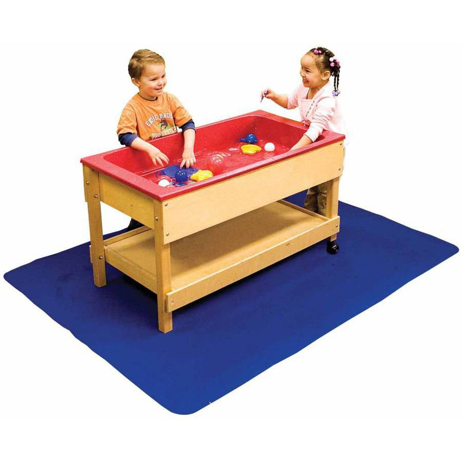 School Specialty Non-Slip Waterproof Sand and Water Floor Mat, Blue
