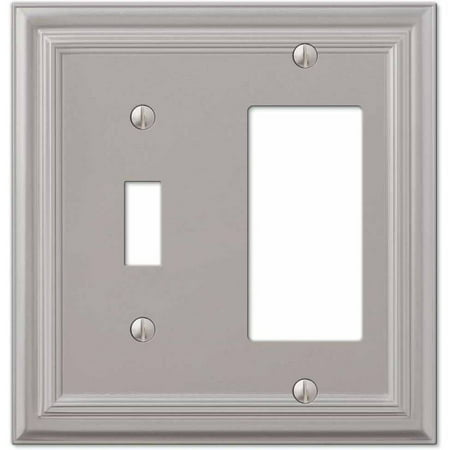 Continental Satin Nickel Cast Single Toggle/Single Rocker Wallplate