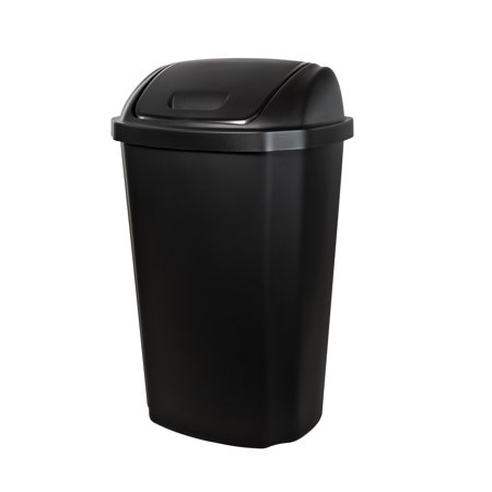 13.5-gallon Hefty Swing Lid Trash Can, Black Lid & Base