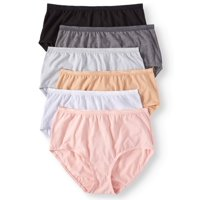 Secret Treasures Women's cotton stretch brief panties, 6 pack