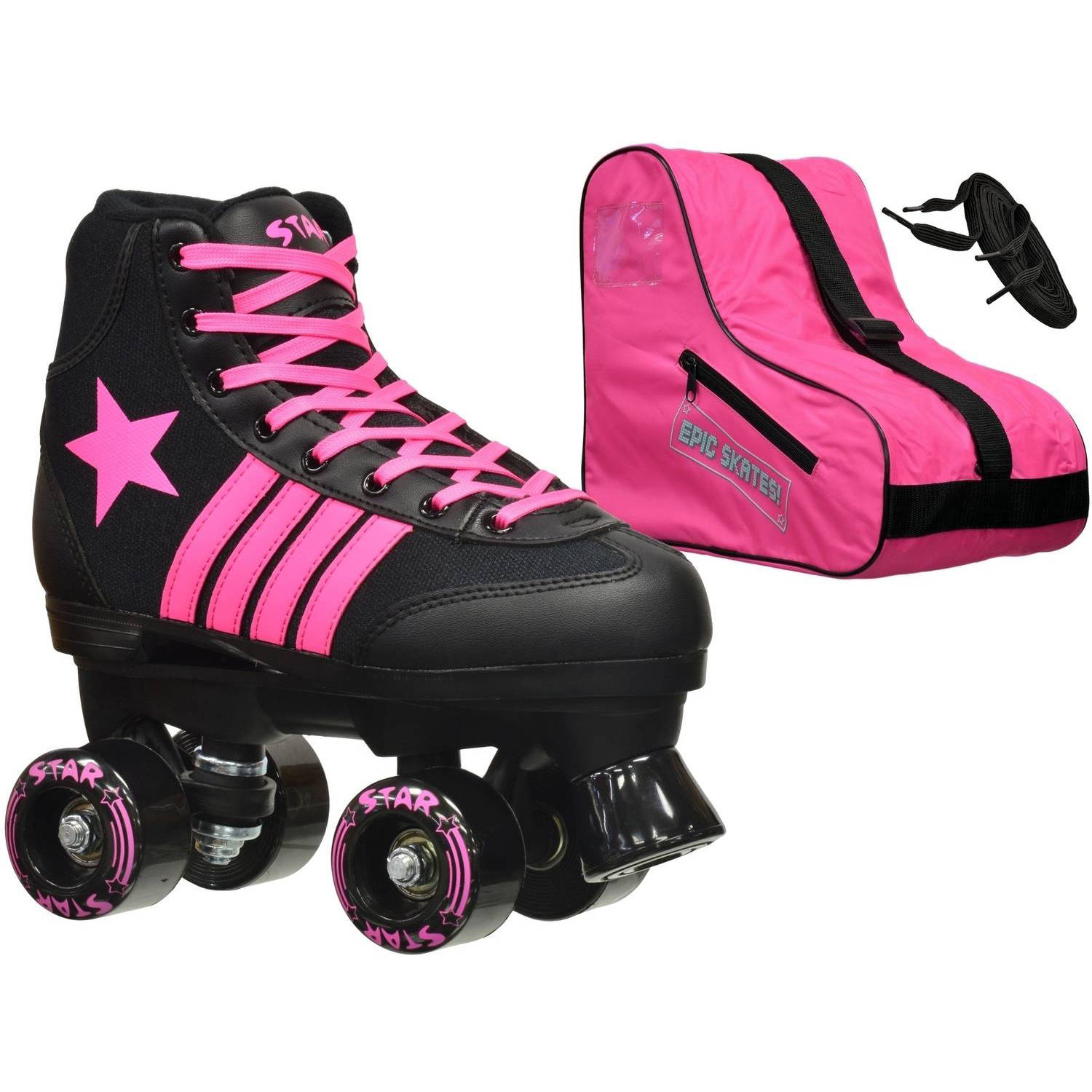 Epic Youth Star Vela Black Pink Quad Roller Skates Package by Epic Skates