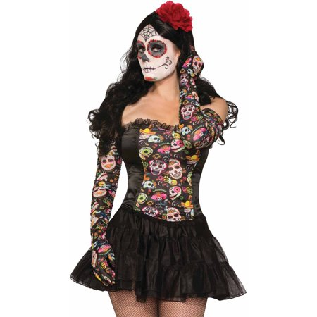 Day of the Dead Gloves Adult Halloween Accessory