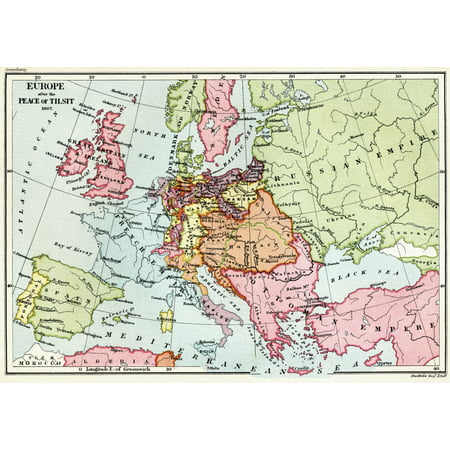 Map Of Europe After The Peace Of Tilsit In 1807 From The Book Short History Of The English People By Jr Green Published London 1893 Posterprint
