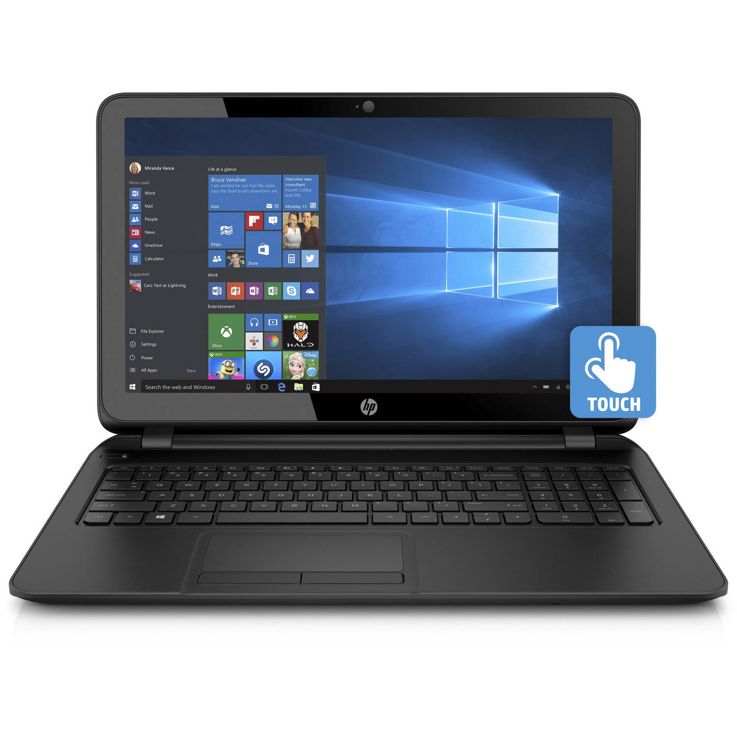 HP 15-f222wm – 15.6 Laptop ,Touchscreen, Windows 10 Home ...