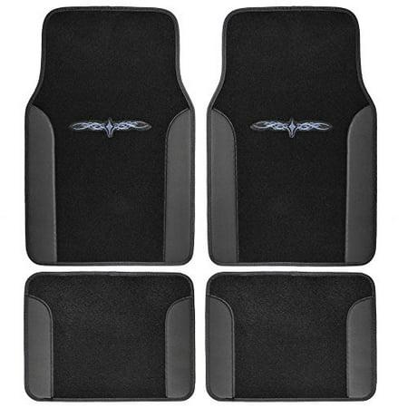 Bdk A Set Of 4 Universal Fit Plush Carpet With Vinyl Trim Floor Mats For Cars Truck Suv   Universal Fit  Black
