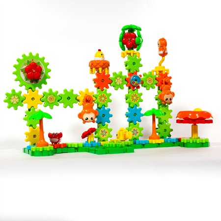 iHubdeal Gears Master Rotating Building Blocks STEM Creative Interactive Assembly, 141-Piece