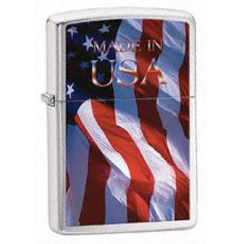Zippo Made Flag Brushed Chrome Lighter