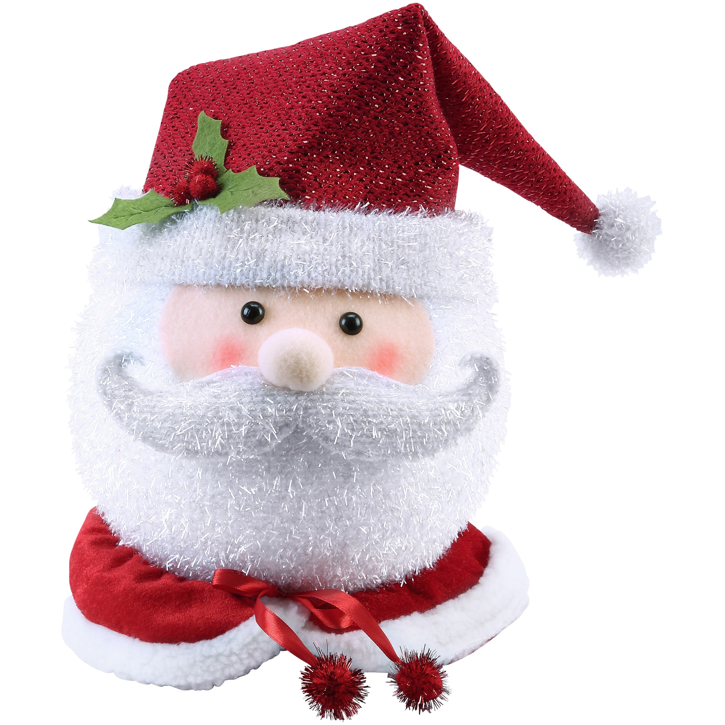 Holiday Time Santa Tree Topper Classic Design with Signature Red and White Hat
