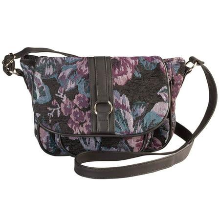 Purple Floral Tapestry Crossbody Handbag ()