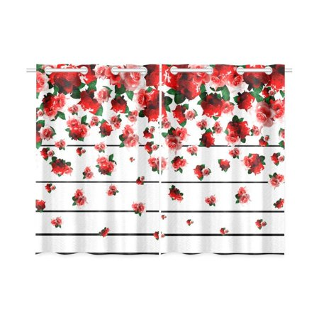 CADecor Spring floral Window Kitchen Curtain, Falling Red Rose Window Treatment Panel Curtains,26x39 inches,Set of 2