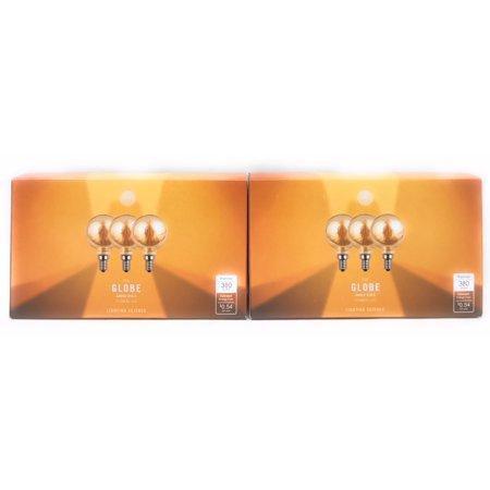 Lighting Science 6-Pack G16.5 Dimmable 40W Equivalent Amber Filament LED E12 Candelabra Base - Led G16 Candelabra