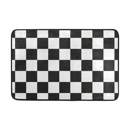 POPCreation Outdoor Black And White Grid Washable Doormat 23.6x15.7 inches