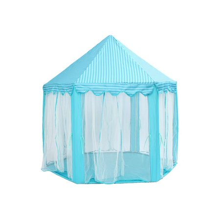 Belle Fairy Castle - Folding Portable Princess Castle Tent Kids Children Cubby Funny Play Fairy Tree House(without  LED Star and Balls)-Blue