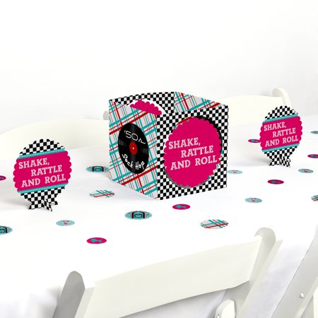 50's Sock Hop - 1950s Rock N Roll Party Centerpiece & Table Decoration Kit - Rock N Roll Decorations Ideas