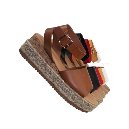 - Leading by Bamboo, Espadrille Wedge Flatform Sandal -Women Open Toe Flat Platform Jute Wrap
