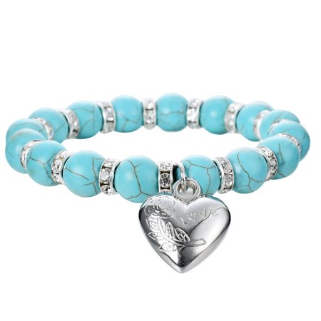Vintage Spacer - Faux Turquoise Round Stone Stretch Bracelet w/ Crystal Spacers & a Rhodium Plated Vintage Heart Pendant By JADA Collections