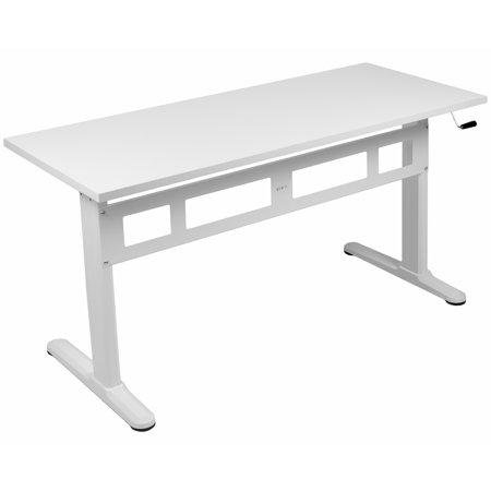 VIVO White Manual Height Adjustable Sit-Stand Desk with Tabletop | Standing Desk Frame and Desktop (DESK-V100MW) Fro Adjustable Desk