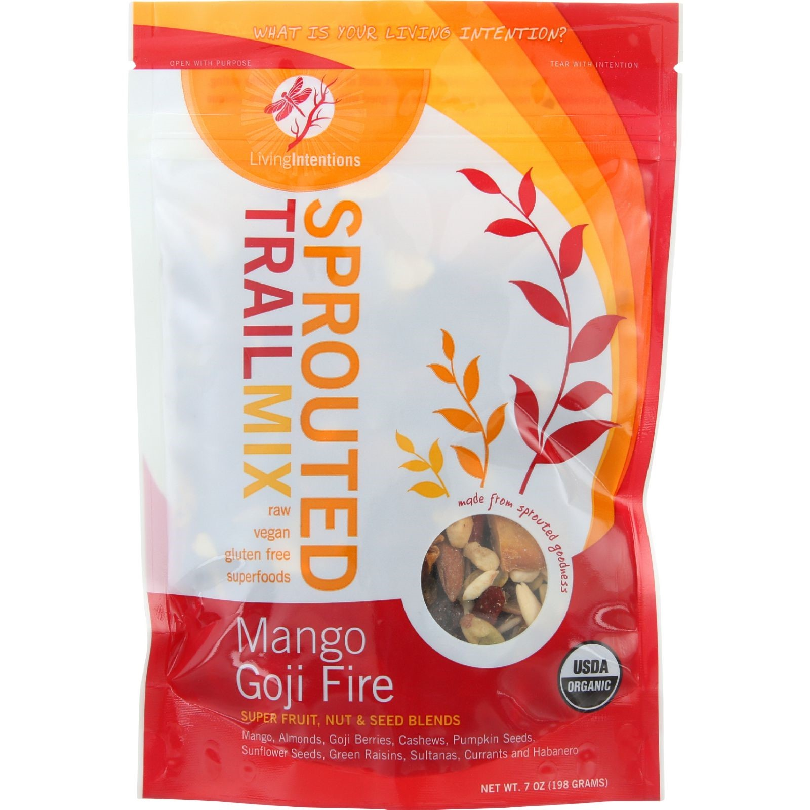 Living Intentions Mango Goji Sprouted Trail Mix, 7 Oz