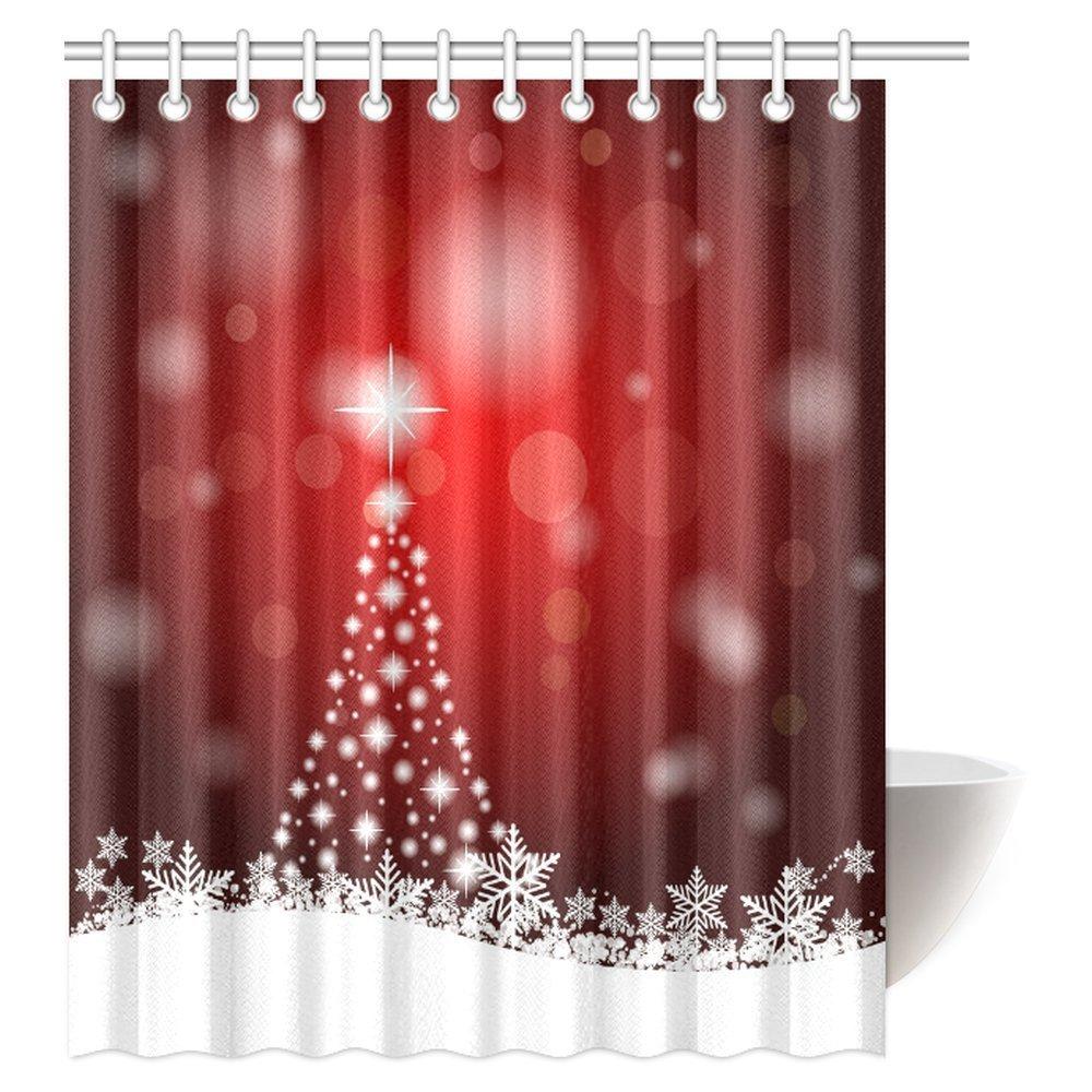 "72/"" Merry Christmas Lighthouse Bathroom Polyester Fabric Shower Curtain /& Hooks"