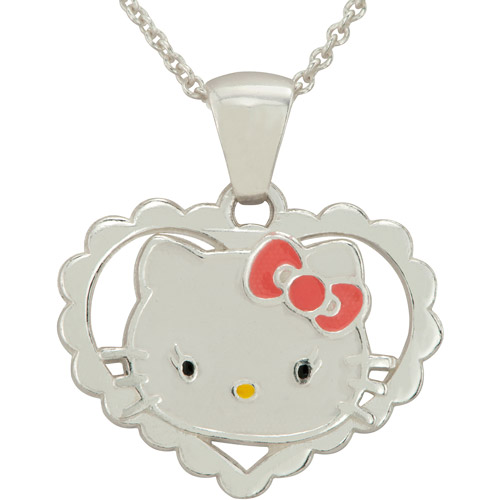 Hello Kitty Sterling Silver Heart Pendant, 18""