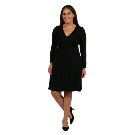 24seven Comfort Apparel Long Sleeve V-Neck Plus Size Mini Dress