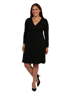 2a0eb0467a Product Image 24seven Comfort Apparel Long Sleeve V-Neck Plus Size Mini  Dress