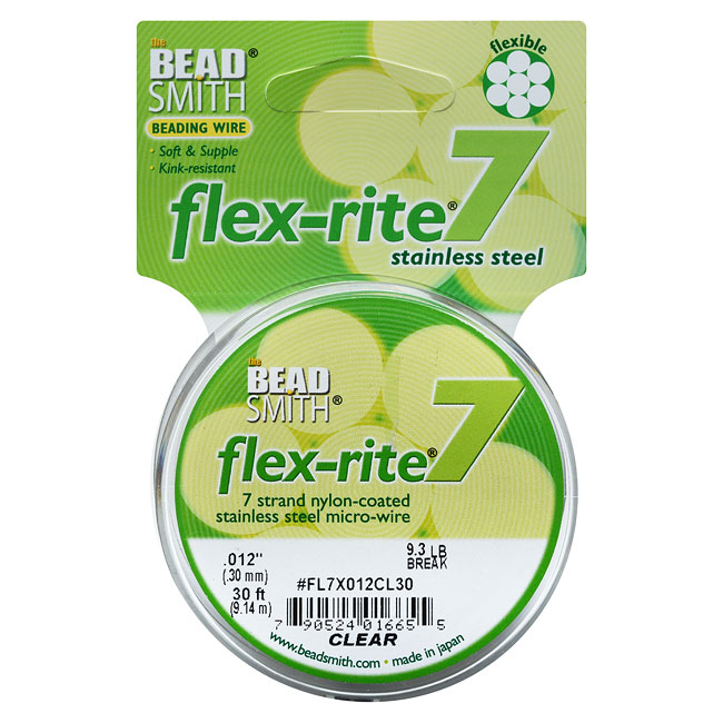 """BeadSmith Flex-Rite Beading Wire, 7 Strand .012"""" Thick, 30 Foot Spool, Clear"""