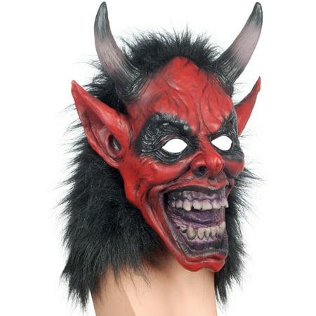 Loftus Black Fur Devil Halloween Full Head Mask, Red Black, One Size - Devil Mask