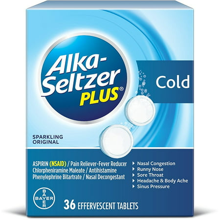 3 Pack - Alka-Seltzer Plus Cold Formula Effervescent Tablets Sparkling Original 36 Tablets