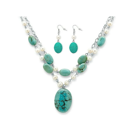 Genuine Turquoise and Cultured Freshwater Pearl Silvertone Necklace and Earrings Set (Freshwater Cultured Pearl Necklace And Earring Set)