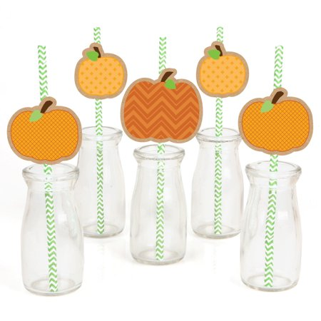 Pumpkin Patch Paper Straw Decor - Fall & Halloween Party Striped Decorative Straws - Set of 24](Halloween Cheese Straws)