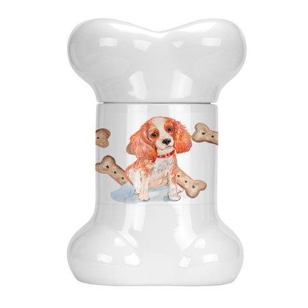 Cavalier Puppy Bone Shaped Treat Jar