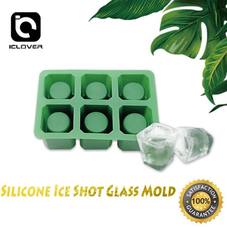 Shot Glass Silicone Ice Mold,6-Cups Square Ice Cube Shot Glass Drink and Dessert Silicone Mold DIY Maker,Chocolate Mold,Jelly Ice Cube Tray FDA Food Grade Silicone Ice Shot by