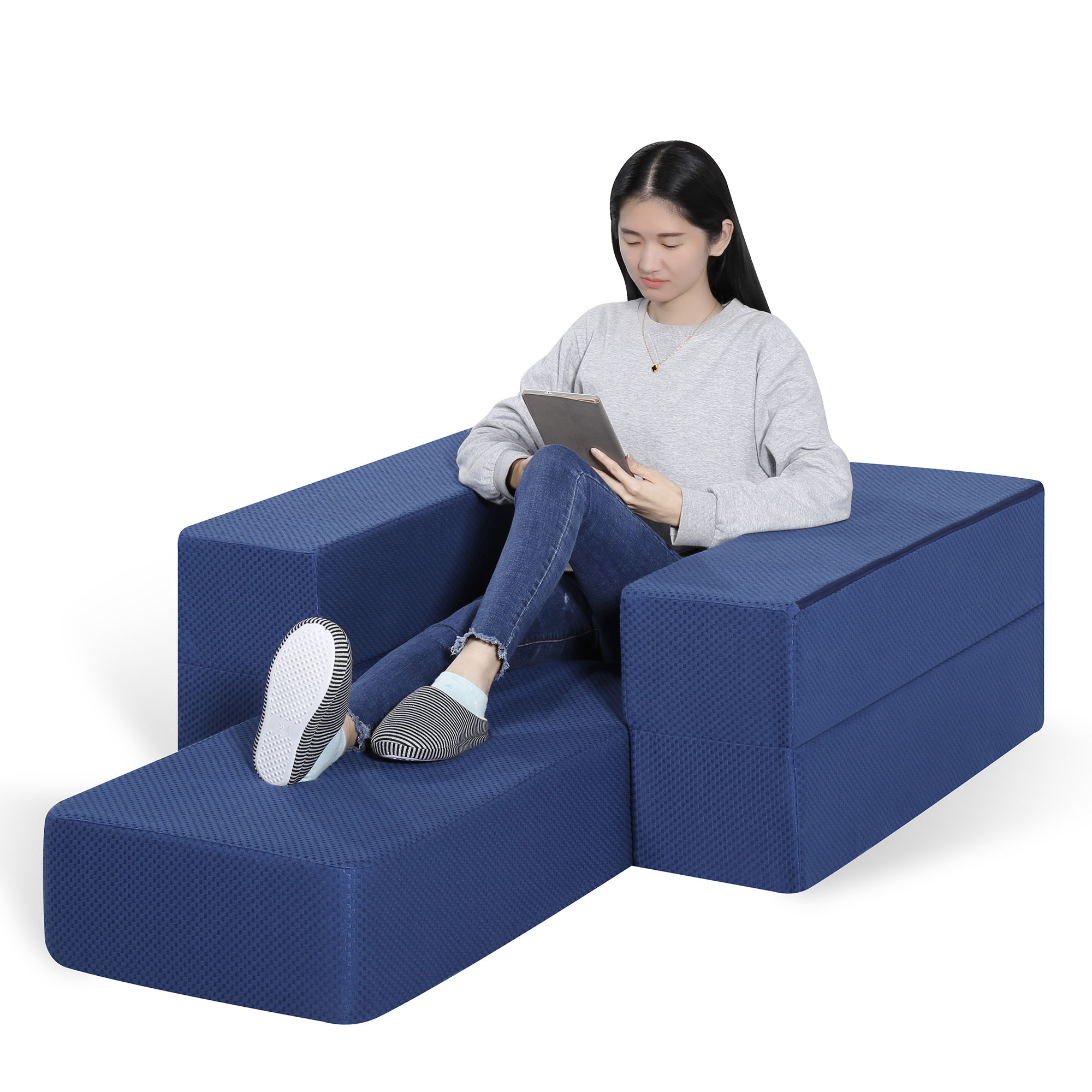 GranRest 8'' Mattress and Floor Sofa, I Gel Foam, Dark Blue