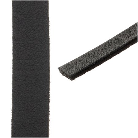 (Flat Faux Leather Cord 10x1.3mm - Black - Pack of 1 Meter)