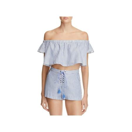 Cotton Stripe Ruffle Shirt - TJD Womens Striped Ruffled Crop Top