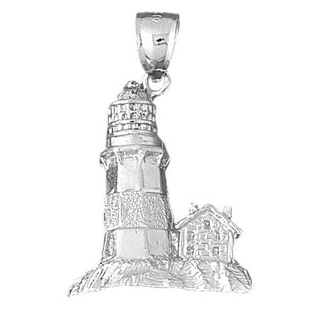 18K White Gold Lighthouse Pendant - 35 mm (18k Lighthouse)