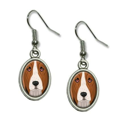 Basset Hound Earring (Basset Hound - Dog Pet Dangling Drop Oval Earrings)