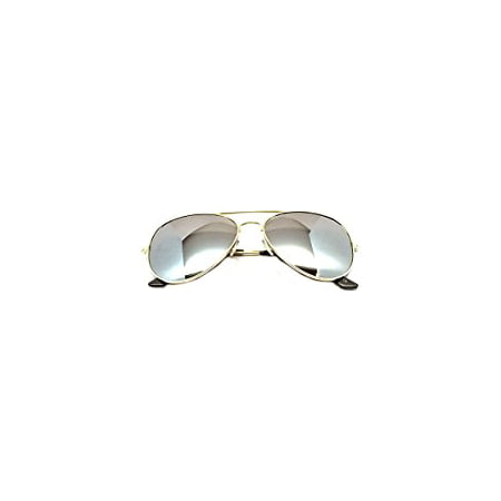 Mens Silver Reflective Mirror Lens Classic Police Style Aviator Sunglasses (Police Sunglasses Usa)