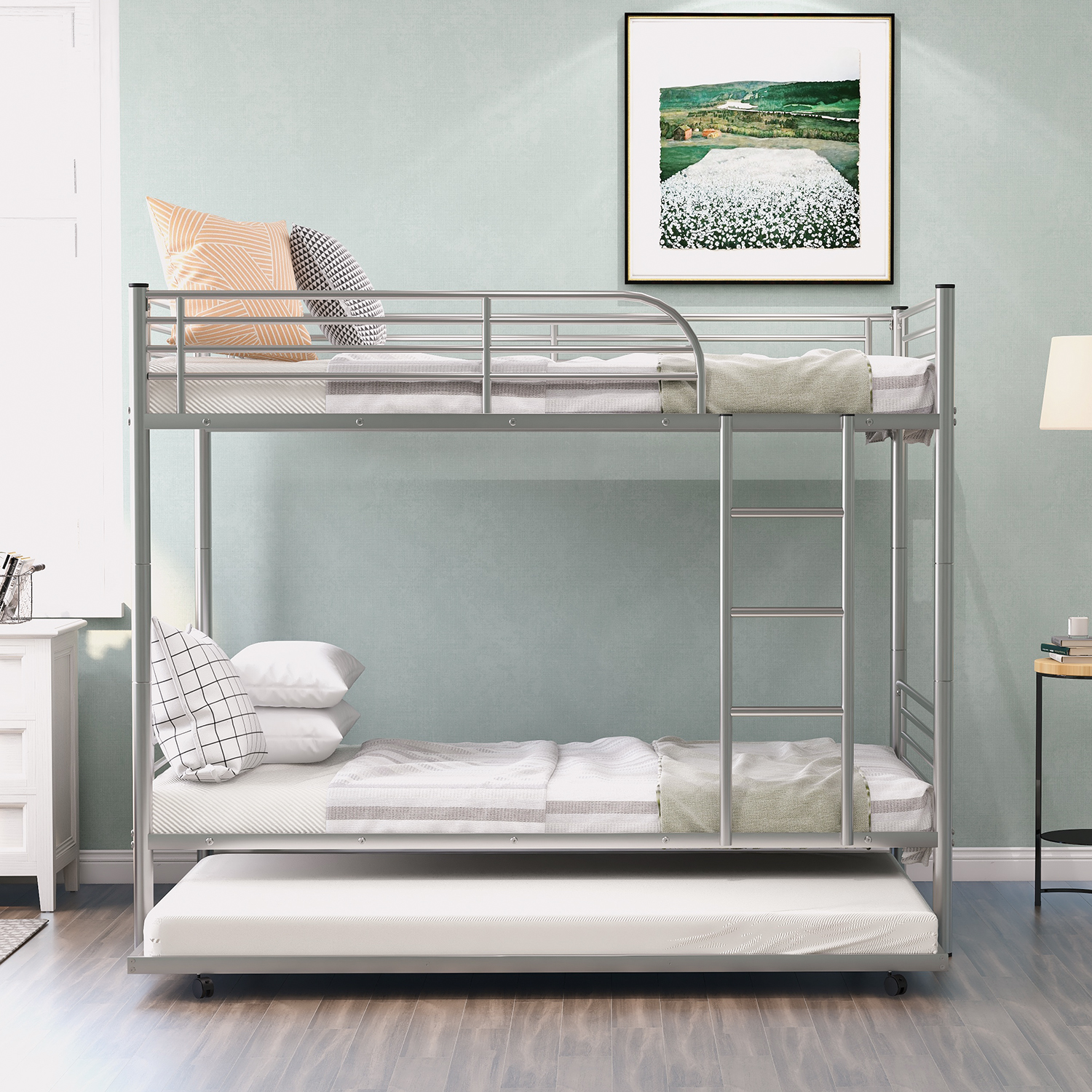 Twin Over Twin Bunk Bed With Trundle Metal Twin Bed With Safety Guard Rail And Ladders Space Saving Design Sleeping Bedroom Bunk Bed For Boys Girls Kids Young Teens And Adults Easy Assembly