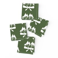 Cocktail Napkins Canoe Canoeing Camping Paddle River Mountain Fishing Set of 4