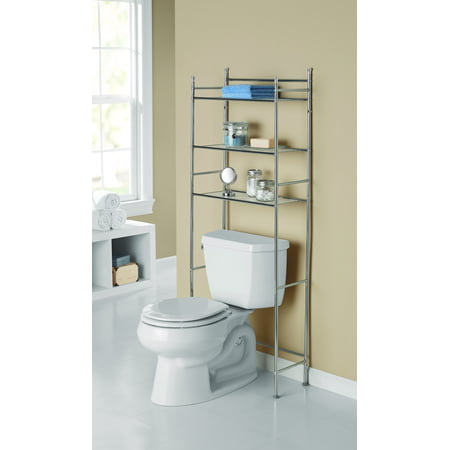 Decor Space Saver - Mainstays 3-Shelf Bathroom Over-the-Toilet Space Saver with Liner, Chrome