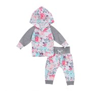 Cute Newborn Kids Baby Girls Flower Hooded Tops Pants Leggings Outfits Clothes