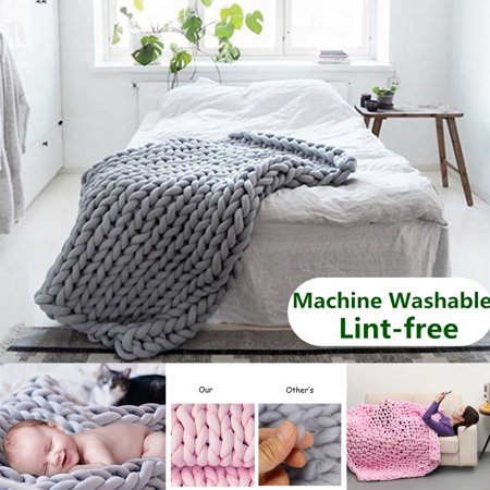 Grtsunsea Hand-woven Cotton Soft Chunky Knitted Blanket Bulky Thick Yarn Bed Sofa Throw Rug - Machine Washable & Lint-free