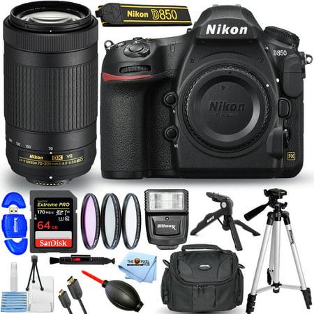 Nikon D850 DSLR Camera with 70-300mm ED VR Lens + 32GB + Flash + Tripods Bundle