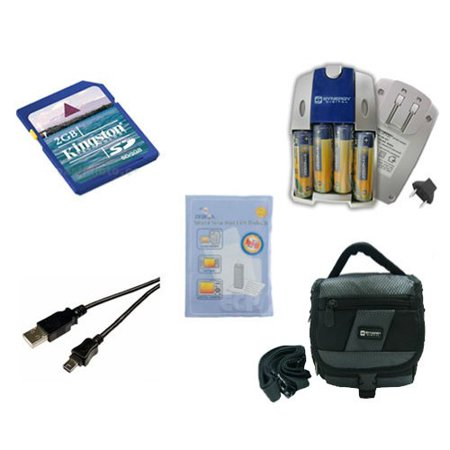 Casio Exilim QV-R40 Digital Camera Accessory Kit includes: SDC-27 Case, ZELCKSG Care & Cleaning, KSD2GB Memory Card, USB5PIN USB Cable, SB257