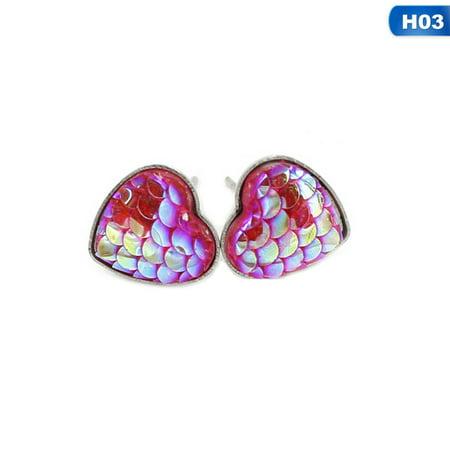 KABOER 2 Pairs\/set Fashion Handmade Resin Beads Shell Heart Mermaid Earrings Fish Scale Ear Stud Fashion Woman