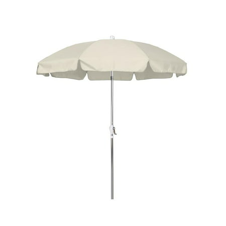 Sunline 7.5' Patio Market Umbrella in Olefin with Anodized Aluminum Pole Steel Wire Ribs 3-Way Tilt Crank (Navy Blue Patio Umbrella With White Pole)