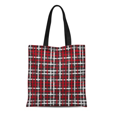 NUDECOR Canvas Tote Bag Watercolor Ink Checkered Black Red White Stroke Crossed Stripes Durable Reusable Shopping Shoulder Grocery Bag - image 1 de 1